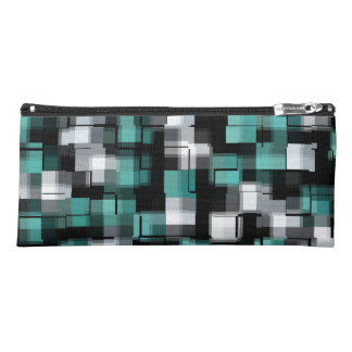 Teal Green Blue Black White Abstract Plaid Pencil Case