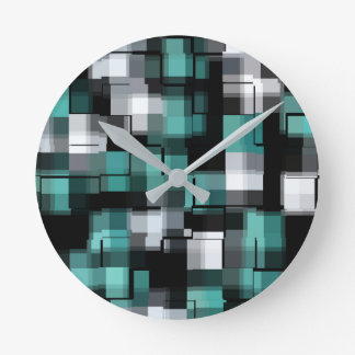 Teal Green Blue Black White Abstract Plaid Round Clock