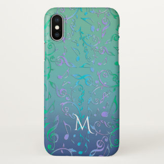 Teal Green Blue Purple Music Notes Monogram iPhone X Case
