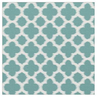 Teal Green Blue White Ikat Quatrefoil Pattern Fabric