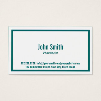 Teal Green Border Pharmacist Business Card