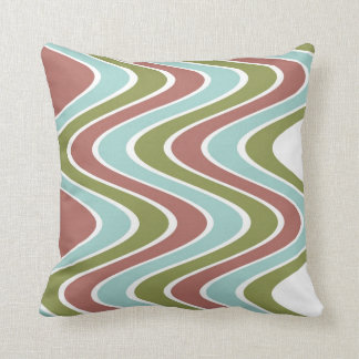 Teal Green Brown Stripes::Geometric Modern Pattern Throw Pillow