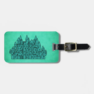 Teal Green Castle. Luggage Tag