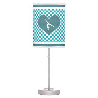 Teal Green Checkered Gymnastics Table Lamp