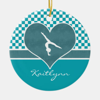 Teal Green Checkered Gymnastics with Monogram Ceramic Ornament