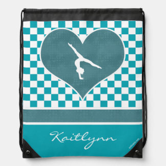 Teal Green Checkered Gymnastics with Monogram Cinch Bags