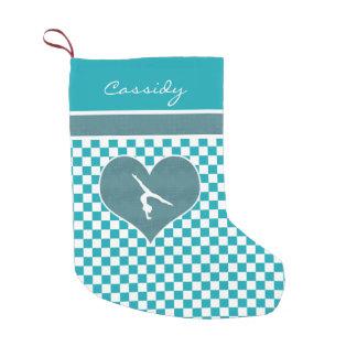 Teal Green Checkered Gymnastics with Monogram Small Christmas Stocking