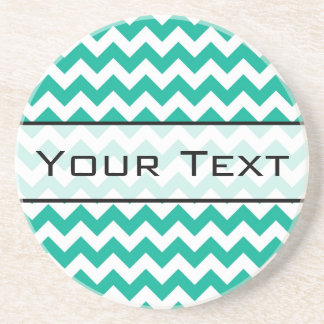 Teal Green Chevron - Custom Text and Monogram Coaster