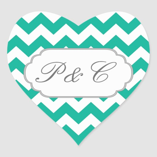 Teal Green Chevron - Custom Text and Monogram Heart Sticker