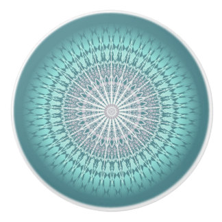 Teal Green Chevron Mandala Ceramic Knob