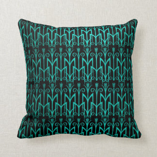 Teal Green Egyptian Reed Grass Color Art Deco Throw Pillow