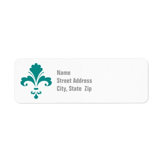 Teal Green Fleur de lis Return Address Label