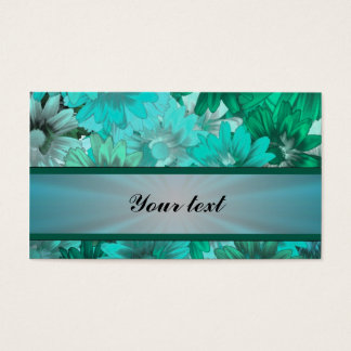 Teal green floral pattern business card