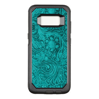 teal green Floral pattern Suede leather Look OtterBox Commuter Samsung Galaxy S8 Case