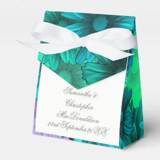 Teal green flowers wedding favor box