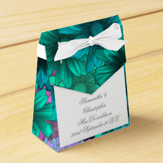 Teal green flowers wedding party favor boxes