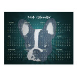 Teal Green French Bulldog 2014 Calendar Postcard