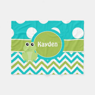 Teal Green Frog Chevron Monogram Blanket