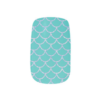 Teal Green Glitter Mermaid Scale Nail Art Decals