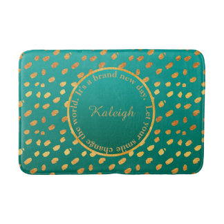 Teal Green & Gold Confetti Inspirational Bath Mat