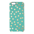 Teal Green Gold Glitter Dots Clear Phone Case