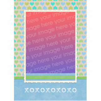 Teal Green Hearts Pattern Photosculpture Template Cut Out