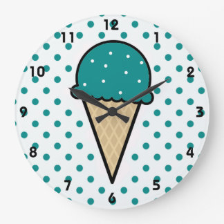 Teal Green Ice Cream Cone Large Clock