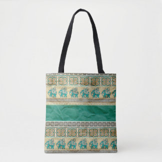 Teal Green Indian Elephant Pattern Tote Bag