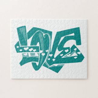 Teal Green Love Graffiti Puzzles