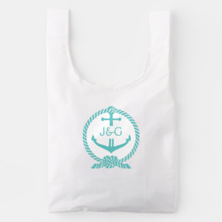 Teal Green Nautical Boat Anchor & Rope Knot