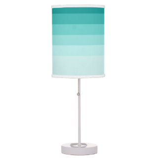 Teal Green Ombre Stripes Table Lamp