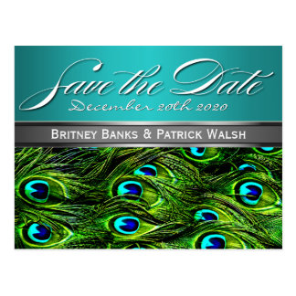 Teal & Green Peacock Wedding Save the Dates Postcard