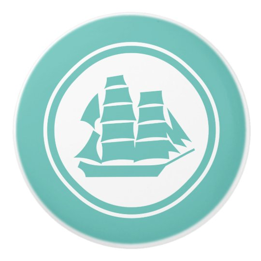 Teal Green Pirate Ship Brig Nautical ceramic knob