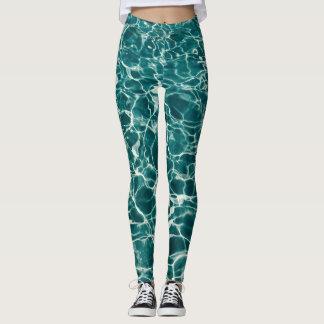 Teal Green Pool Pattern Leggings