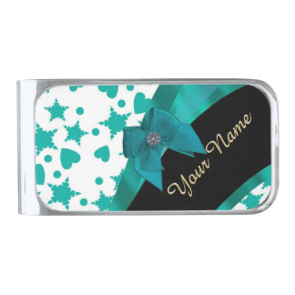 Teal green pretty spotty patterned personalized silver finish money clip