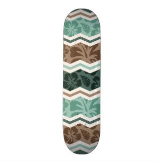 Teal Green, Robins Egg Blue, & Brown Tropical Custom Skate Board