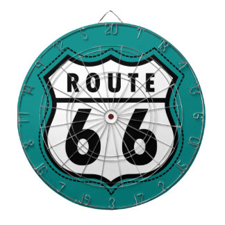 Teal Green Route 66 sign Dartboard