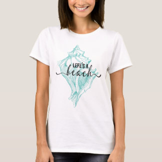 Teal-green Seashell & Life's A Beach Typography T-Shirt