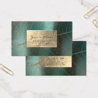 Teal Green Sepia Gold Foil Botanical Delicate Business Card