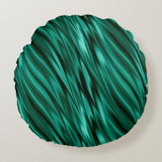 Teal green silky waves round pillow