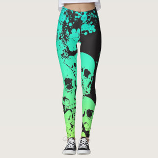 Teal/Green Skulls Leggings