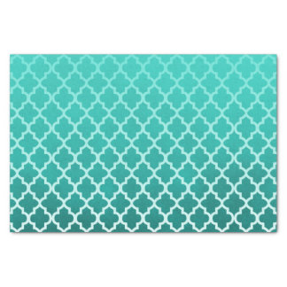 Teal Green Smudge Color with Quatrefoil Pattern Tissue Paper