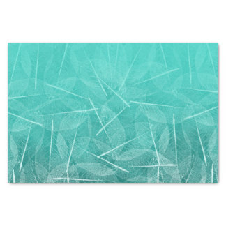 Teal Green Smudge Color with Vien Leave Design Tissue Paper