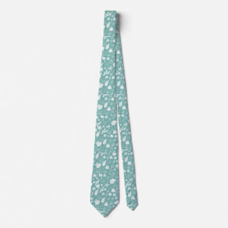 Teal Green Starfish Seashell and Ocean Sealife Tie