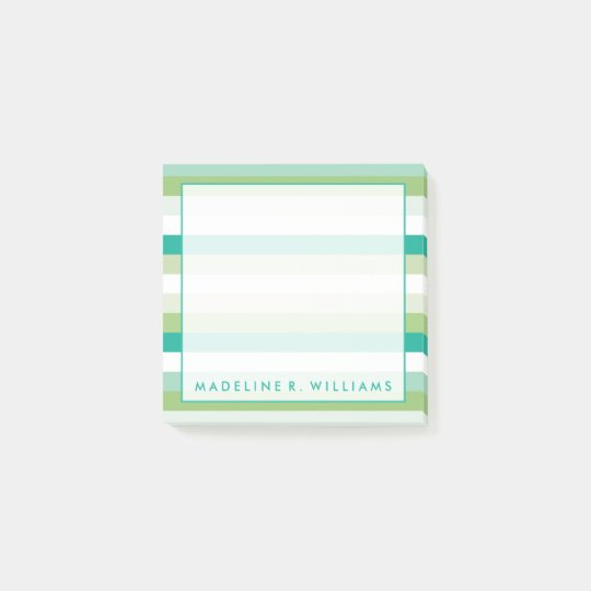 Teal & Green Stripes Post-it Notes