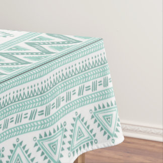 Teal green Tribal pattern  Cotton Tablecloth