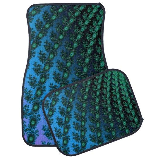 Teal Green Turquoise Spiral Fractal Auto Car Mat