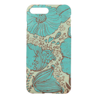 Teal Green Vintage Flowers hand Illustration iPhone 7 Plus Case