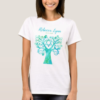 Teal Green Watercolor Tree of Life Bat Mitzvah T-Shirt