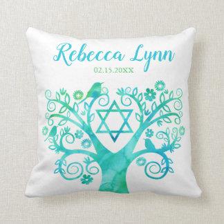 Teal Green Watercolor Tree of Life Bat Mitzvah Throw Pillow